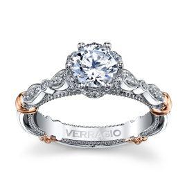 Verragio 14k White Gold and 14k Rose Gold Diamond Engagement Ring Setting 1/5 ct. tw.