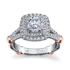 Verragio 14k White Gold and 14k Rose Gold Diamond Engagement Ring Setting 1/2 ct. tw.