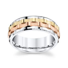 Gravure 14k White Gold and 14k Yellow Gold and 14k Rose Gold 7.5 mm Wedding Band