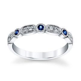 14k White Gold Blue Sapphire Diamond Wedding Band 1/10 ct. tw.