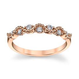 14k Rose Gold Diamond Wedding Band 1/7 ct. tw.