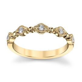 14k Yellow Gold Diamond Wedding Band 1/8 ct. tw.
