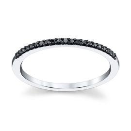 Stacked 14K White Gold Diamond Wedding Band 0.08 cttw