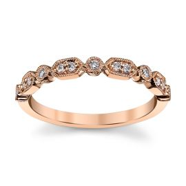 14k Rose Gold Diamond Wedding Band 1/8 ct. tw.