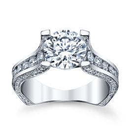 Michael M. 18k White Gold Diamond Engagement Ring Setting 1 1/4 cttw