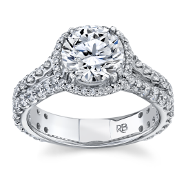 RB Signature 14Kt White Gold Diamond Engagement Ring Setting 1 1/2 cttw