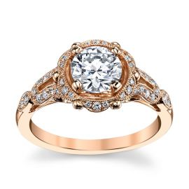 RB Signature 14k Rose Gold Diamond Engagement Ring Setting 1/5 ct. tw.