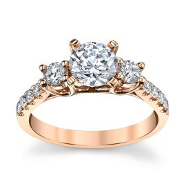 14k Rose Gold Diamond Engagement Ring Setting 1/2 ct. tw.