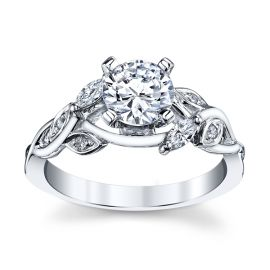 14k White Gold Diamond Engagement Ring Setting 1/7 ct. tw.