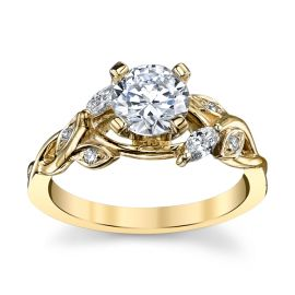 14k Yellow Gold Diamond Engagement Ring Setting 1/7 ct. tw.