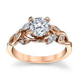 14k Rose Gold Diamond Engagement Ring Setting 1/7 ct. tw.