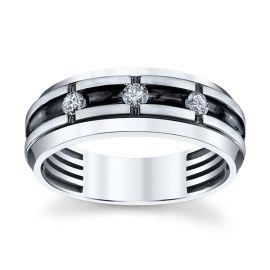 14K White Gold Diamond Wedding Band 1/4 cttw