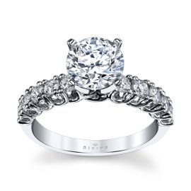 Divine 14k White Gold Diamond Engagement Ring Setting 5/8 ct. tw.