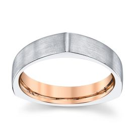 Equalli 14k White Gold and 14k Rose Gold 5 mm Wedding Band