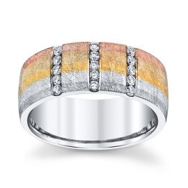 Equalli 14k White Gold and 14k Yellow Gold and 14k Rose Gold and 14k Gray Gold 7.7 mm Diamond Wedding Band 1/5 ct. tw.