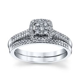Cherish 14k White Gold Diamond Wedding Set 1/4 ct. tw.
