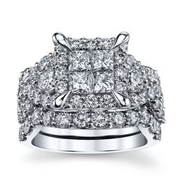 Mosaic Collection 14k White Gold Diamond Wedding Set 4 ct. tw.