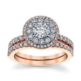 Utwo 14k Rose and 14k White Gold Diamond Wedding Set 1 1/3 ct. tw.
