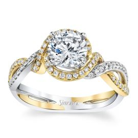 Simon G. 18k Yellow Gold and 18k White Gold Diamond Engagement Ring Setting 1/5 ct. tw.