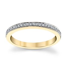 14k Yellow Gold Diamond Wedding Band 1/10 ct. tw.