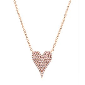 Shy Creation 14k Rose Gold Heart Diamond Pendant 1/5 ct. tw.
