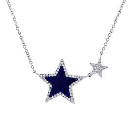 Shy Creation 14k White Gold Stars Diamond Pendant 1/5 ct. tw.