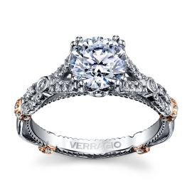 Verragio 14k White Gold and 14k Rose Gold Diamond Engagement Ring Setting 3/8 ct. tw.