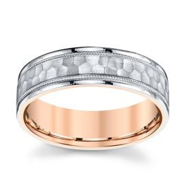 Novell 18k Rose Gold and Platinum 6 mm Wedding Band