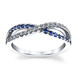 14k White Gold Blue Sapphire Diamond Wedding Band 1/6 ct. tw.