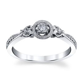 Cherish 10k White Gold Promise Ring .04 ct. tw.