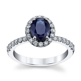 Blossom Bridal 14k White Gold Blue Sapphire Diamond Engagement Ring 3/8 ct. tw.