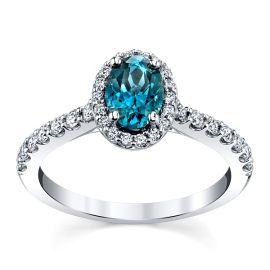 Blossom Bridal 14k White Gold Blue Spinel Diamond Engagement Ring 3/8 ct. tw.