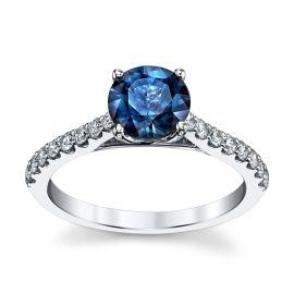 Blossom Bridal 14k White Gold Blue Spinel Diamond Engagement Ring 1/3 ct. tw.