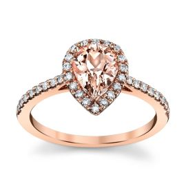 Blossom Bridal 14k Rose Gold Morganite Diamond Engagement Ring 1/4 ct. tw.