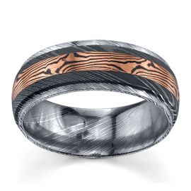Lashbrook Damascus and Mokume 8 mm Wedding Band