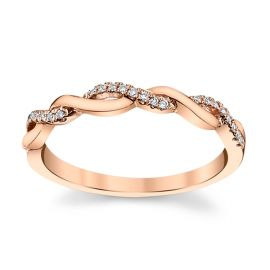 14k Rose Gold Diamond Wedding Band .06 ct. tw.