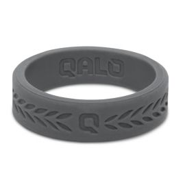 Qalo Charcoal Silicone Laurel Band - Size 7