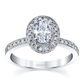 Simon G. 18k White Gold Diamond Engagement Ring Setting 1/3 ct. tw.