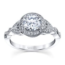 Simon G. 18k White Gold Diamond Engagement Ring Setting 1/5 ct. tw.
