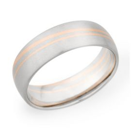 Christian Bauer Palladium and 14k Red Gold 7 mm Wedding Band