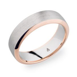 Christian Bauer Palladium and 14k Red Gold 6.5 mm Wedding Band
