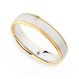 Christian Bauer Palladium and 18k Rose Gold 5 mm Wedding Band