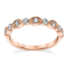 Henri Daussi 14k Rose Gold Diamond Wedding Band 1/3 ct. tw.
