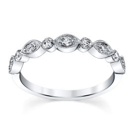 Henri Daussi 14k White Gold Diamond Wedding Band 1/3 ct. tw.