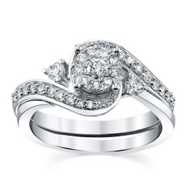 10k White Gold Diamond Wedding Set 1/2 ct. tw.