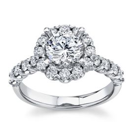 14Kt White Gold Diamond Engagement Ring Setting 3/4 cttw