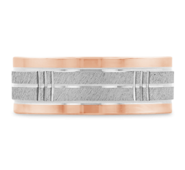 14k White Gold and 14k Rose Gold 8 mm Wedding Band