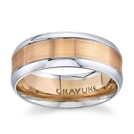 14Kt Rose and 14Kt White Gold 8 mm Wedding Band