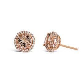 14k Rose Gold Morganite Earrings 1/7 ct. tw.