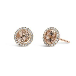 14k Rose Gold Morganite Earrings 1/6 ct. tw.
